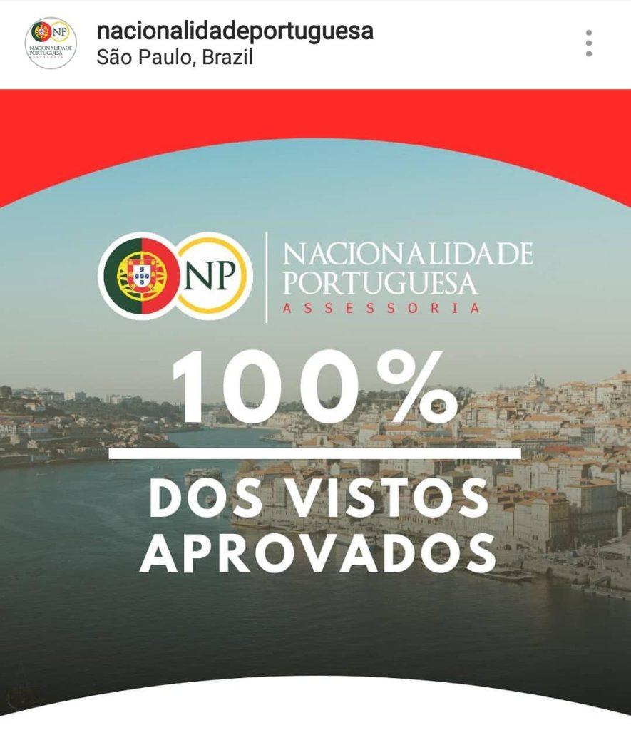 100% dos vistos aprovados - nacionalidade portuguesa