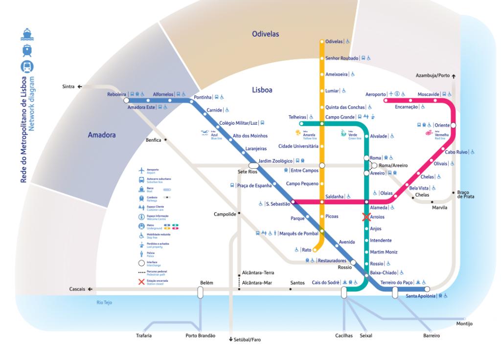 mapa do metro de lisboa - nacionalidade portuguesa