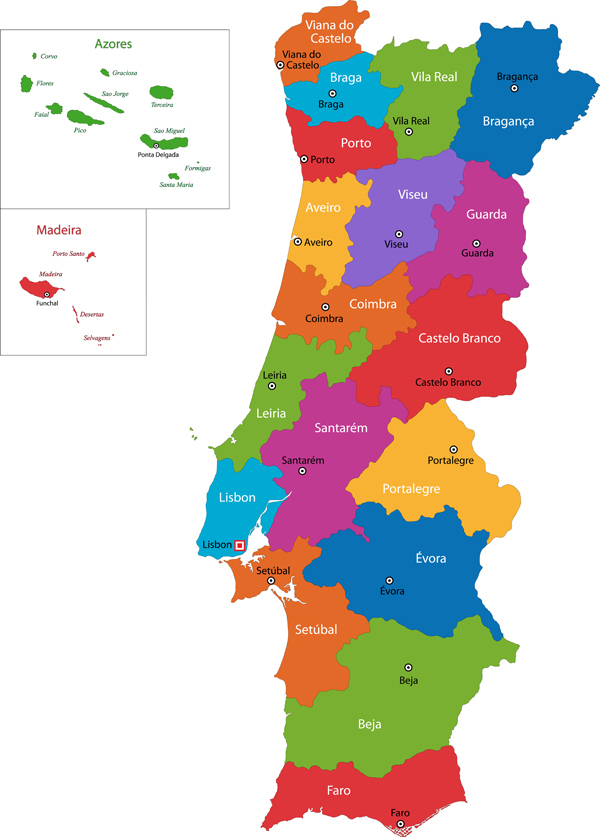 mapa dos distritos de Portugal